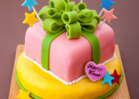 パーティーサイズのサプライズケーキはいかがですか?下はリーズケーキ、上はカラフル四層のスポンジケーキになっています!!